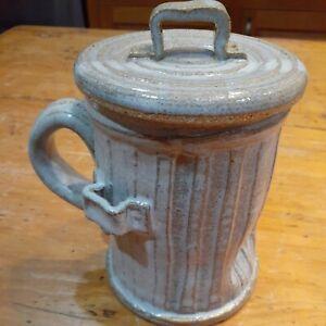 Pandemonium 1981 pottery mug  Rustic trash can mug dog bone