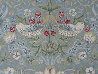 "WILLIAM MORRIS CURTAIN FABRIC ""Strawberry Thief"" 3.2 METRES SLATE & VELLUM"