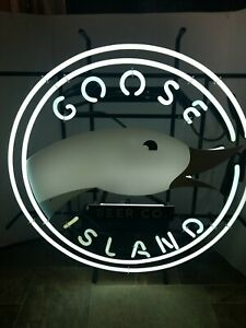 Goose island beer 312 neon light up duck sign blue & light green Chicago il