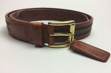 Coach Leather Belt Size 30 Made in Italy Brown Leather Olive Ribbon Style 3879