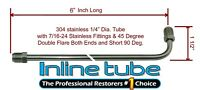"1/4"" Brake Line 6 INCH STAINLESS STEEL 90 Degree Bend Flared 7/16-24 Tube Nuts"