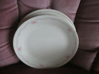 Set of 8 Corelle ENGLISH BREAKFAST Pink Flowers Blue Lines Dinner Plates 10 1/4""