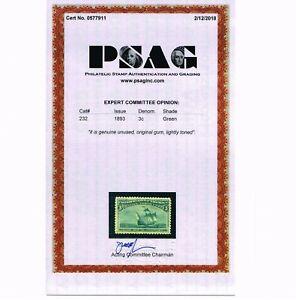 GENUINE SCOTT #232 F-VF MINT OG NH PSAG CERT 1893 GREEN 3¢ COLUMBIAN EXP ISSUE