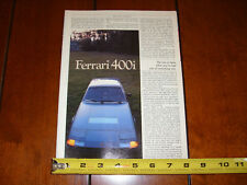 1982 FERRARI 400i - ORIGINAL ARTICLE