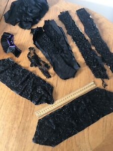 Lot of Antique Victorian Edwardian Beadwork Beads From Clothing Old Possibly Jet