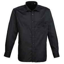 Premier Mens Long Sleeve Poplin Shirt Business Formal Work Casual Suit Black 20