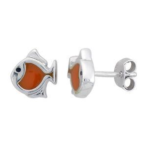 Argent Sterling Enfant Taille Poisson Boucles D'Oreilles W/Orange Émail Motif
