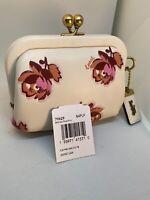 New Coach Coin Purse Flower Print White Glove Leather Brass Kisslock 79629 W5