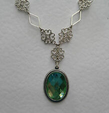 LACY FILIGREE VICTORIAN STYLE APPLE GREEN DARK SILVER PLATED PENDANT NECKLACE