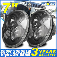 2x 7inch H4 200W CREE LED Driving Light High-Low Beam Headlight DRL Offroad Spot