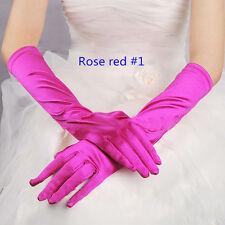 Paire de gants longs satin pour mariage : LONG 40 cm - coloris rose fushia