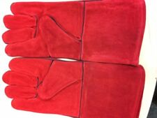 HEAVY DUTY Wood Burner Stoves Fireplace Heat Resistant Fire Gloves - RED