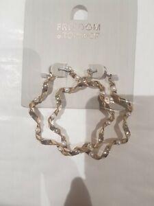 Freedom At Topshop Pearl Gold Hoop Earrings
