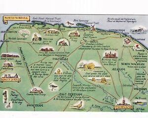 North Norfolk map Postcard unused VGC