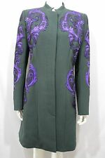 Andrew GN Donna Verde Lana Cappotto Giacca Cocktail Blu Metallico Floreale 10 US