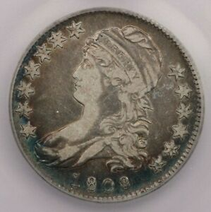 1808-P 1808 Draped Bust Half Dollar 50C ICG F12 Details Looks VF+ flashy blue!