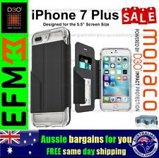 iPhone 7 Plus Case EFM Monaco Wallet D3O Bumper Card Cover Silver Tough Slim