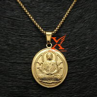 """24"""" 3mm Men 18K Yellow Gold Plated Stainless Steel Buddha Chain Pendant Necklace"""