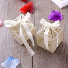 50 Paar Hochzeit Süßigkeiten Geschenk Favor Boxen mit Band Tischdekoration DE