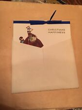 NOS Vintage Unused Christmas Happiness Card W/ Ribbon & Original Envelope c.1900