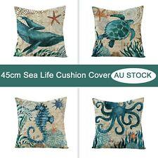 1x Whale Turtle Seahorse Octopus Cushion Cover Blue Sea Animal Sofa Pillow Cover