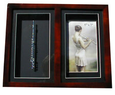 "5""x7"" Photo frame w/handmade collectible miniature silver plated Flute(13.3""x11"""