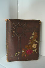 Vintage Embossed Leather Scrapbook Photo Album Flower Rose No photo's