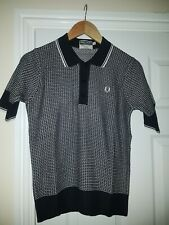 fred perry reissues Knitted Polo Shirt, black mix, sz 14, new mod northern soul