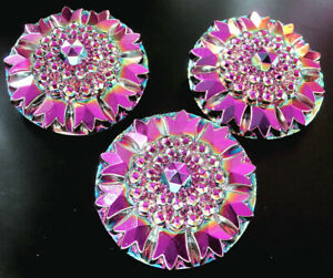 "3 Czech Vaseline Glass Buttons #B484 - 30 mm or 1-1/4""- PYRAMIDAL SHAPE!!!!"