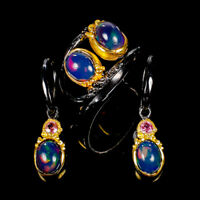 Rainbow8x6mm Natural Black Opal 925 Sterling Silver SET Ring Size 8/R125583