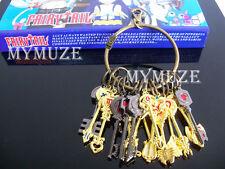 18 Pcs Fairy Tail Lucy Heart Key Chain Celestial Spirit Gate Key Set Gift