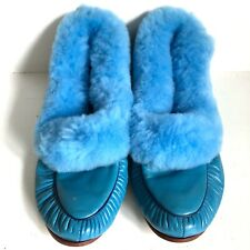 Oomphies Blue Leather Sheepskin Slippers Shoes Sz 8 Vtg England NOS New