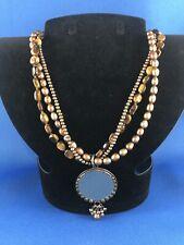 Silpada Tiger's Eye Bronze Pearl Reversible Pendant Necklace N1838 Sterling