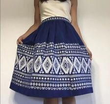 Handmade vintage style BOHO ethnic Tablecloth skirt Blue WHITE small womens