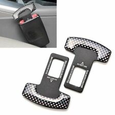 2x Universal Carbon Fiber Car Safety Seat Belt Buckle Alarm Stopper Clip Clamp
