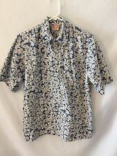 Go Barefoot Hawaiian Men's Shirt Size M Blue With Multi Color Floral Pullover