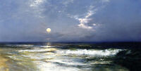 Oil painting Thomas Moran - Moonlit Seascape Quiet night with waves moon canvas