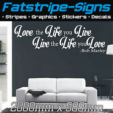 2m LARGE BOB MARLEY Wall Art quotes Stickers Decals Lounge Bedroom LOVE LIFE