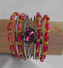 NEW WOMENS LADIES PINK BANGLE BRACELET FASHION WATCH X1