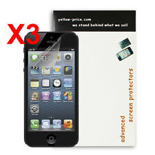 Pack of 3x Clear Invisible Screen Protector for Apple iPhone 5 w/clean cloth x3