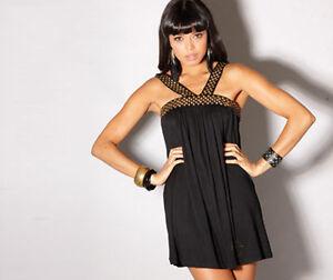 TG Fashion Range Womens Size 8 Black Embellished Tunic Dress