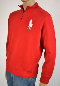 Ralph Lauren RED WHITE BIG PONY 1/2 HALF ZIP SWEATER NWT XL