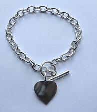 "Ladies 7.75"" sterling silver Heart Toggle bracelet 18g Hallmarked"