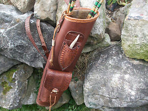 BROAD-HEAD KNIFE LEATHER BACK QUIVER / ARCHERY 3 POINT HARNESS