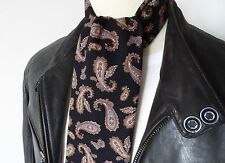 SUPERNOVA Black & Brown Paisley Mod Scarf Cotton 60s Scooter Oasis Liam