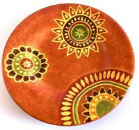 Tabletops Unlimited Gallery Rio Hand Painted Orange Floral Salad Plate