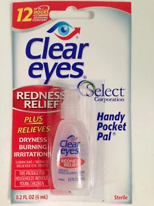 CLEAR EYES REDNESS RELIEF EYE DROPS BURNING DRYNESS 6ml 0.2fl.oz. FREEPOST 6/22