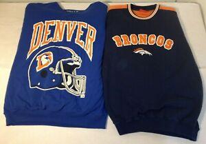 DENVER BONCOS Vintage Sweatshirt Lot 2 Football NFL Shirts Sports Apparel Size L