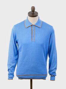 Art Gallery Clothing Isley Knitted Long Sleeve Polo Shirt, Sky Blue, Mod, SALE