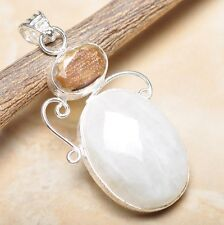 "Fire White Rainbow Moonstone Opal 925 Sterling Silver 2.25"" Pendant #P14178"